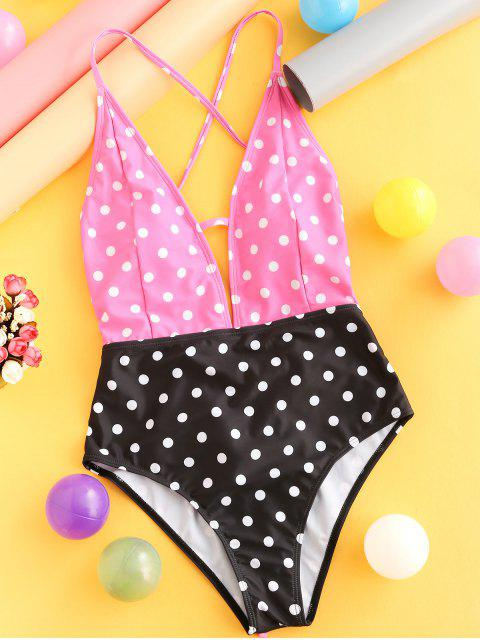 women's ZAFUL Color Block Polka Dot Lace Up One-piece Swimsuit - MULTI-A L Mobile