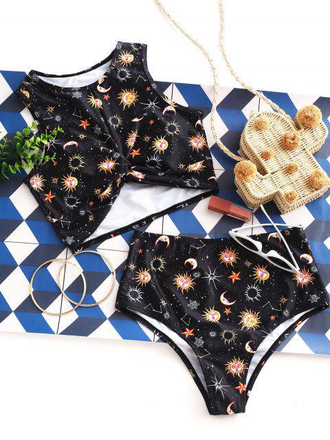 ZAFUL Sun Star Luna Imprimir torcedura de Tankini del traje de baño - Negro L Mobile