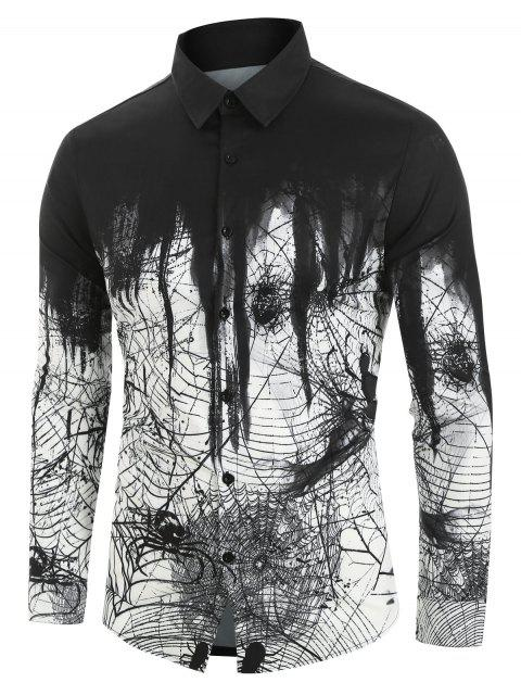 latest Spider Printed Long Sleeves Shirt - WHITE 2XL Mobile