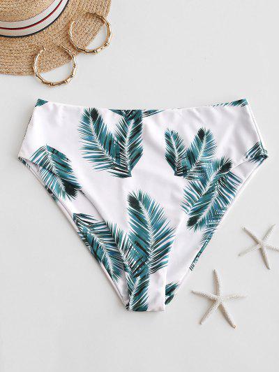 ZAFUL Tropical Leaf Print High Waisted Bikini Bottom - White S