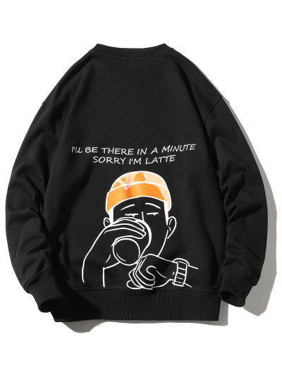 Drinking Men Letter Graphic Print Pullover Casual Sweatshirt - Black 4xl