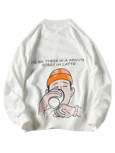 Drinking Men Letter Graphic Print Pullover Casual Sweatshirt - White 4xl