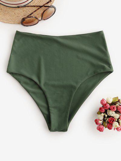 ZAFUL Full Coverage Plain Bikini Bottom - Camouflage Green M