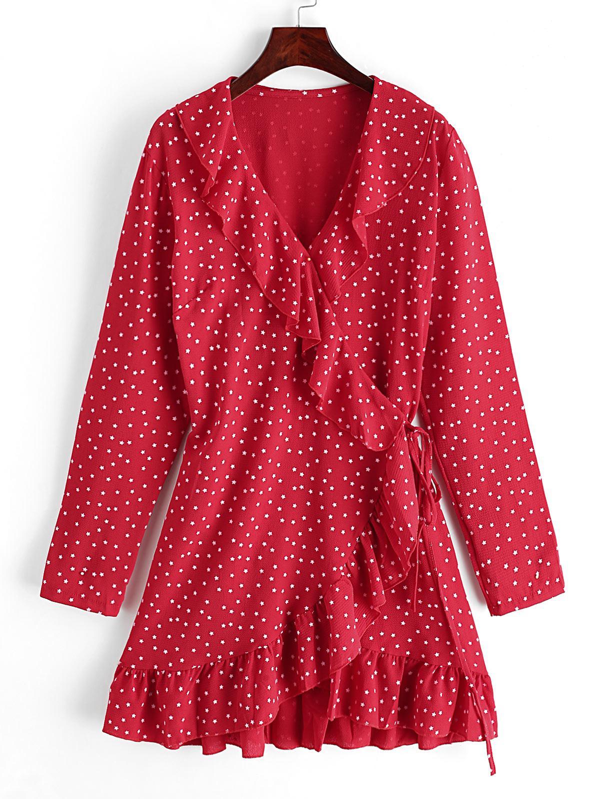 Dazzling Star Ruffles Wrap Mini Dress, Ruby red