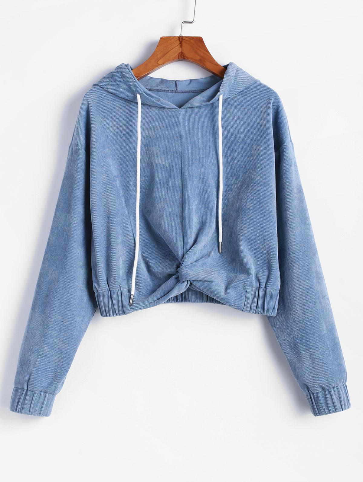 ZAFUL Corduroy Twisted Drop Shoulder Pullover Hoodie thumbnail