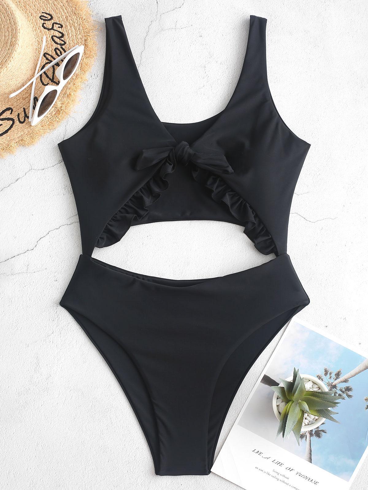 ZAFUL Knot Ruffle Cutout One-piece Swimsuit thumbnail