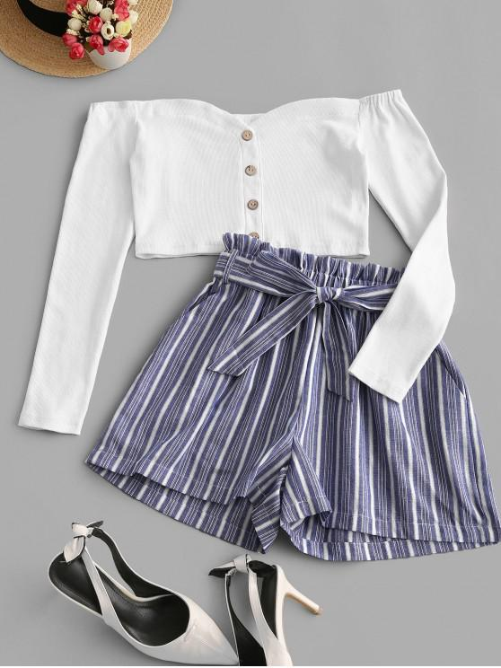 outfits ZAFUL Buttons Striped Crop Belted Two Piece Suit - MULTI XL
