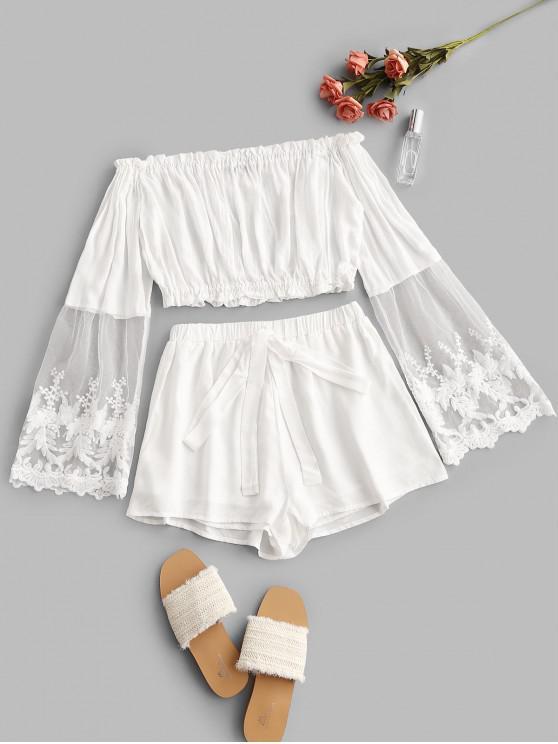 ZAFUL Hombro panel de malla anudada del traje de dos piezas - Blanco XL