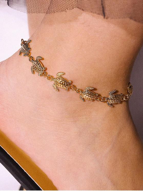烏龜裝飾合金鍊腳鍊 - 金