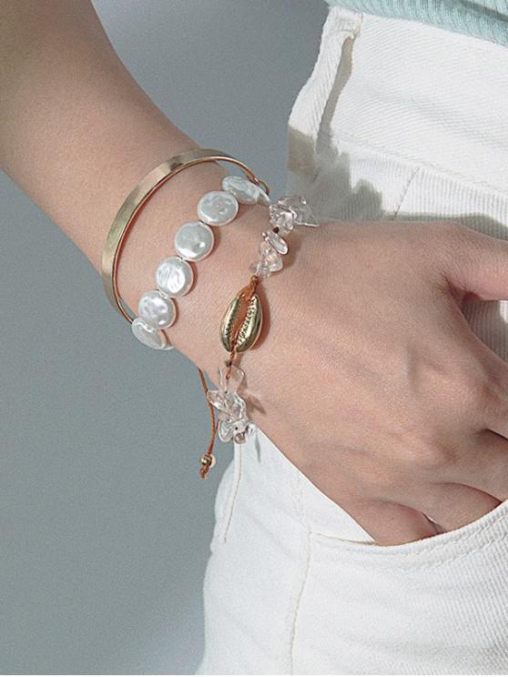 lady 3Pcs Faux Pearl Stone Shell Bracelet Set - GOLD