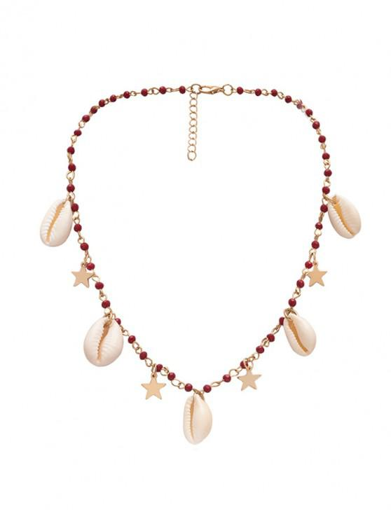 latest Shell Beads Stars Necklace - GOLD