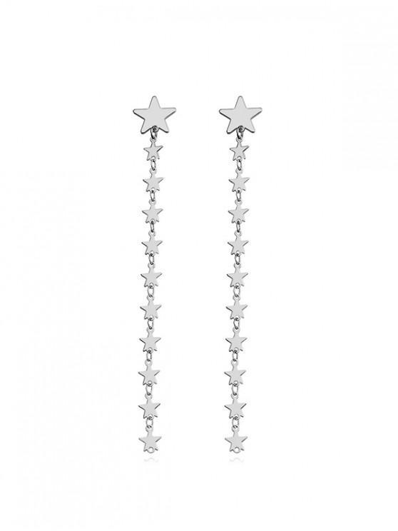 Sterne Design- Lange Baumelnde Ohrringe - Silber
