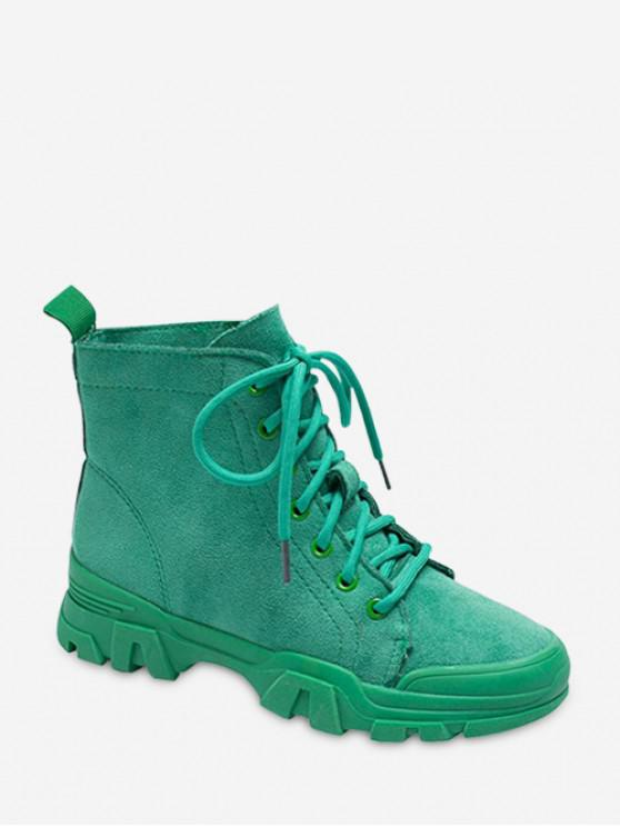 รองเท้าบูทหุ้มข้อ Faux Suede สีทึบ - สีเขียวเข้ม EU 36