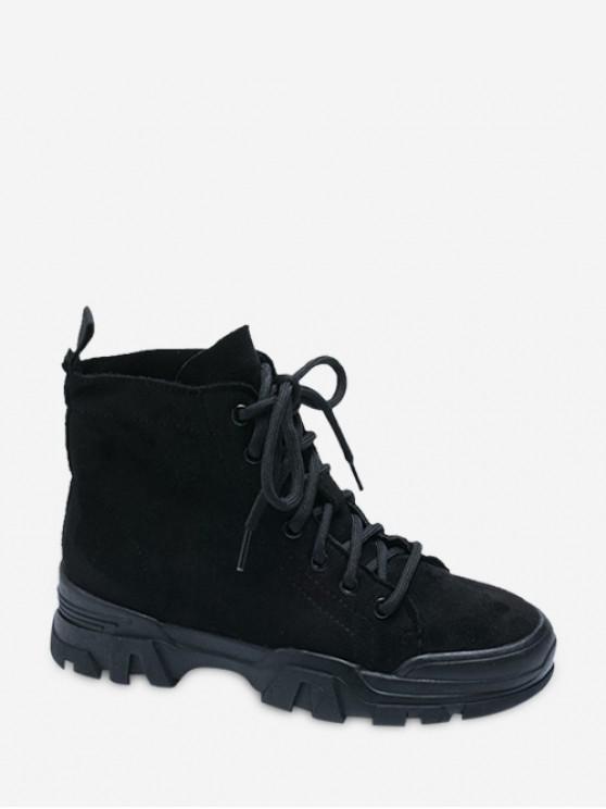 buy Plain Faux Suede Cargo Ankle Boots - BLACK EU 35