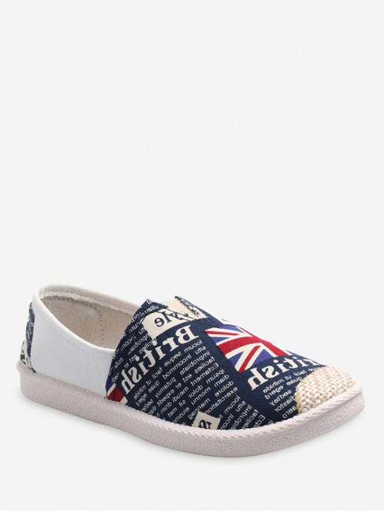best UK Flag Print Loafer Cloth Shoes - BLUE EU 40