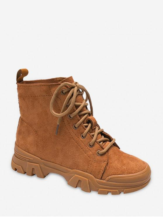Bottines à Bretelle en Couleur Unie en Faux Daim - Brun EU 36