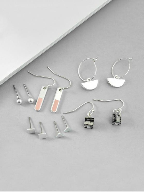 6Pairs簡約幾何石耳環套裝 - 銀