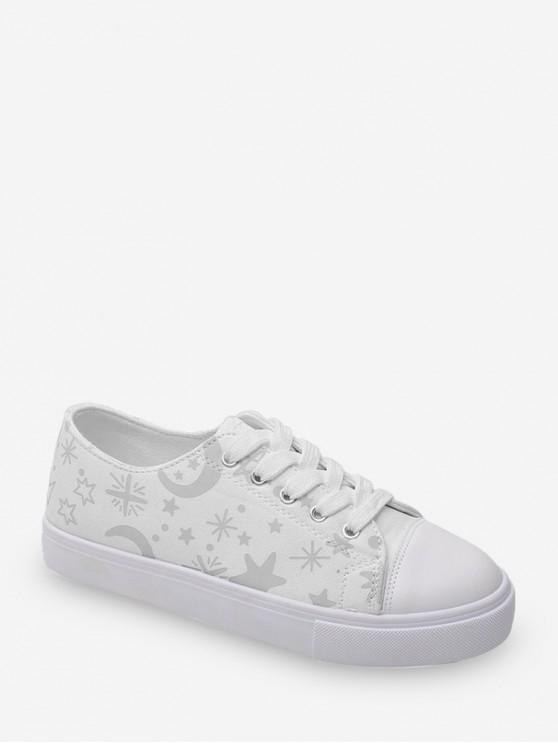 Zapatos planos de lona con estampado Star Moon - Blanco EU 38