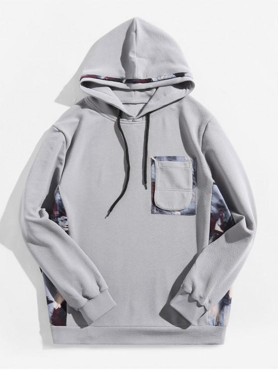 outfit Painting Print Patchwork Splicing Chest Pocket Hoodie - BLUE GRAY L