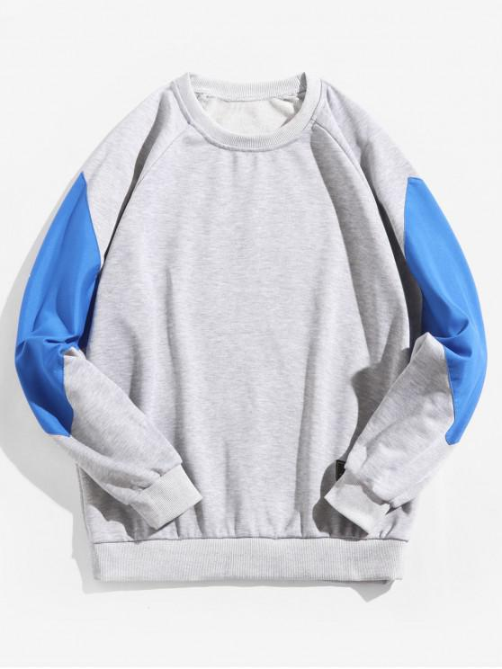 best Raglan Sleeve Color Block Splicing Round Neck Sweatshirt - GRAY GOOSE XS
