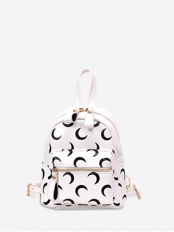 Mochila mini con bolsillo frontal con estampado de luna - Blanco