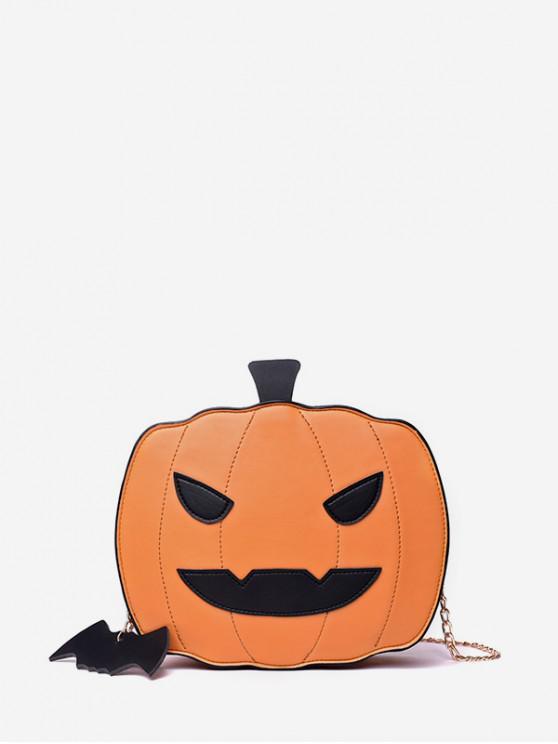 hot Halloween Pumpkin Chain Crossbody Bag - SAFFRON