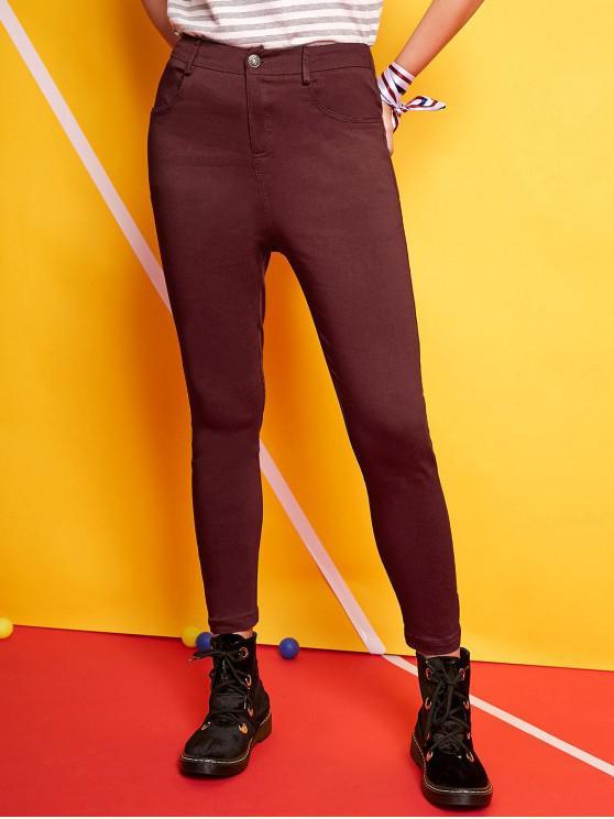 ZAFUL Einfarbige Hose mit hoher Taille - Schamotte XL