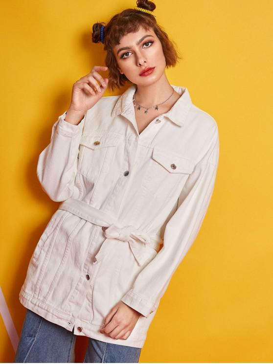 Button Up Skirted Denim Coat mit Gürtel - Weiß L