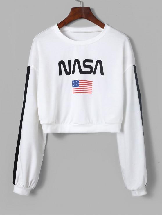 womens ZAFUL American Flag Tape Sleeve Drop Shoulder Sweatshirt - MILK WHITE M
