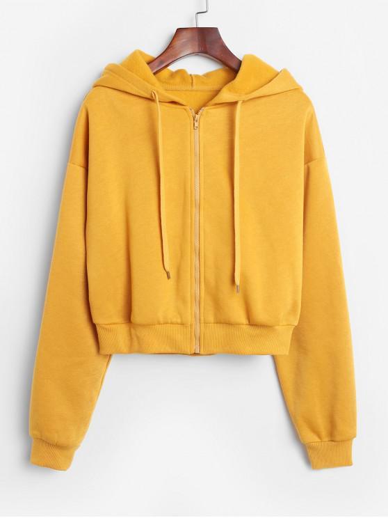 ladies ZAFUL Zip Up Fleece Lined Drop Shoulder Hoodie - ORANGE GOLD S