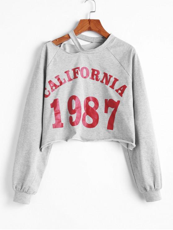 women ZAFUL California 1987 Graphic Cut Out Shoulder Cropped Sweatshirt - LIGHT GRAY M