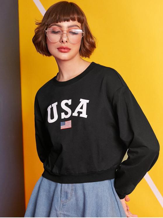 ZAFUL American Flag Letter Graphic Ernte Sweatshirt - Schwarz M