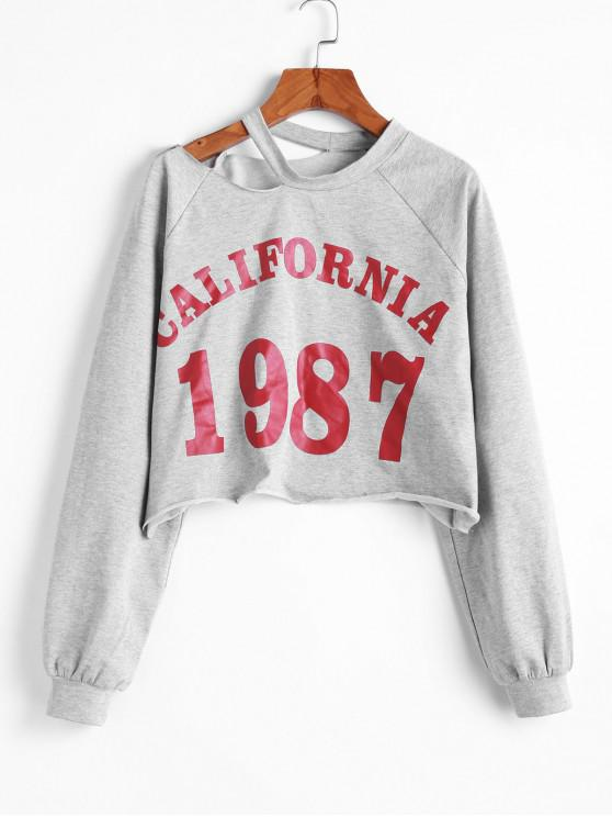 new ZAFUL California 1987 Graphic Cut Out Shoulder Cropped Sweatshirt - LIGHT GRAY L