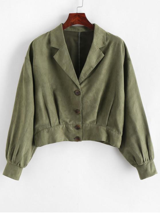lady ZAFUL Pleated-detail Faux Suede Jacket - FERN GREEN L