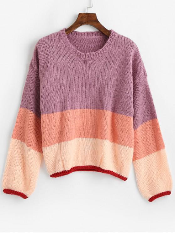 Suéter con hombros descubiertos y bloque de color - Multicolor Talla única