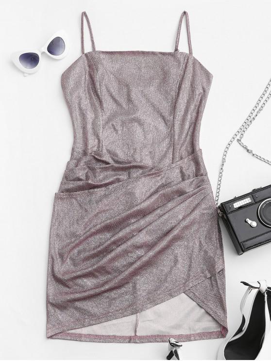 unique Metallic Glittery Draped Cami Dress - WISTERIA PURPLE S