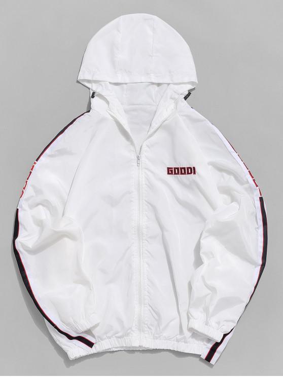 Veste à capuche à manches raglan à rayures en lettres multicolores - Blanc L