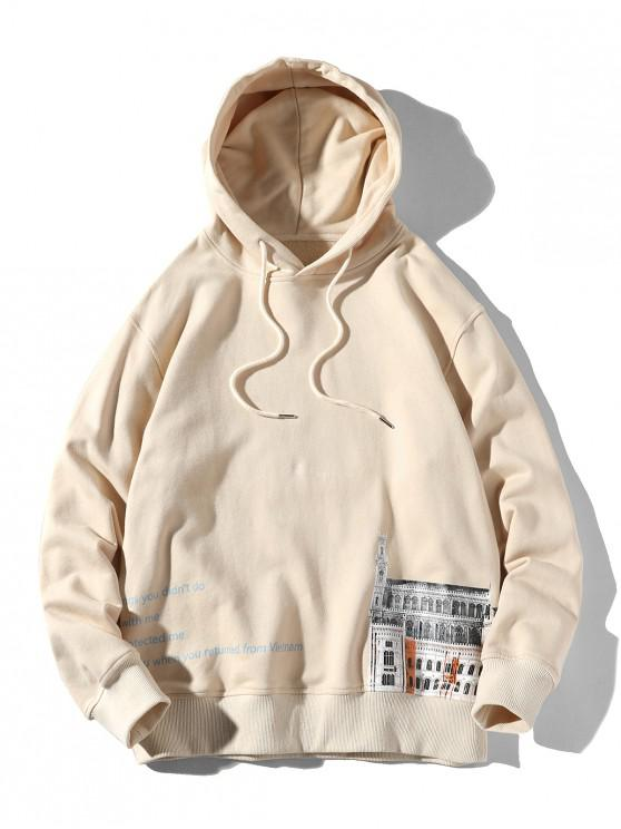 affordable Letter Graphic Building Print Drawstring Hoodie - LIGHT KHAKI M