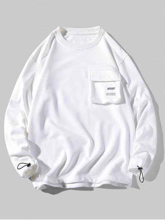 Sudadera casual con bolsillo y solapa estampada con aplique de letras - Blanco 4XL