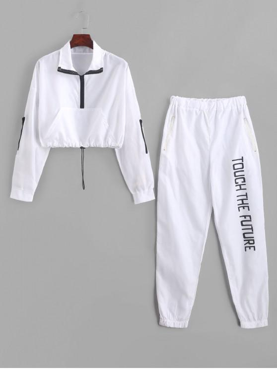 lady Letter Graphic Front Pocket Windbreaker Two Piece Suit - WHITE M