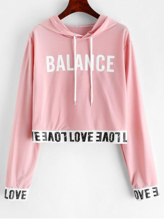 online Balance Graphic Pullover Stretchy Hem Hoodie - DEEP PEACH M