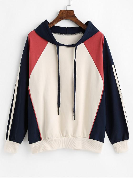 outfits Racing Stripes Drawstring Color Block Hoodie - MULTI M