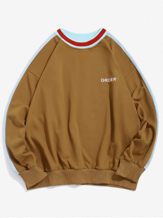 unique Order Embroidery Color Block Spliced Pullover Sweatshirt - TIGER ORANGE S