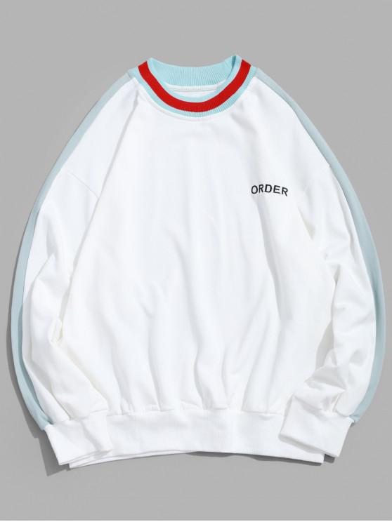 online Order Embroidery Color Block Spliced Pullover Sweatshirt - WHITE S