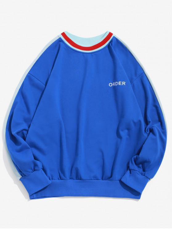 shop Order Embroidery Color Block Spliced Pullover Sweatshirt - OCEAN BLUE S