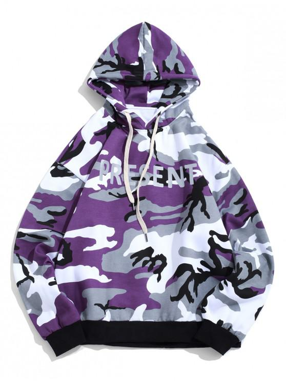 latest Present Letter Camouflage Print Fleece Pullover Casual Hoodie - PURPLE FLOWER L