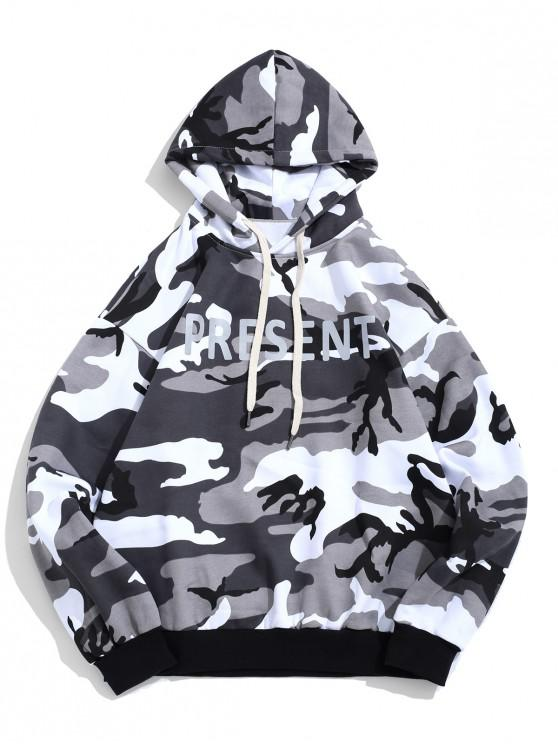 latest Present Letter Camouflage Print Fleece Pullover Casual Hoodie - GRAY CLOUD 2XL