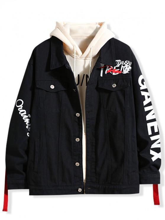affordable Letter Print Denim Jacket - BLACK M