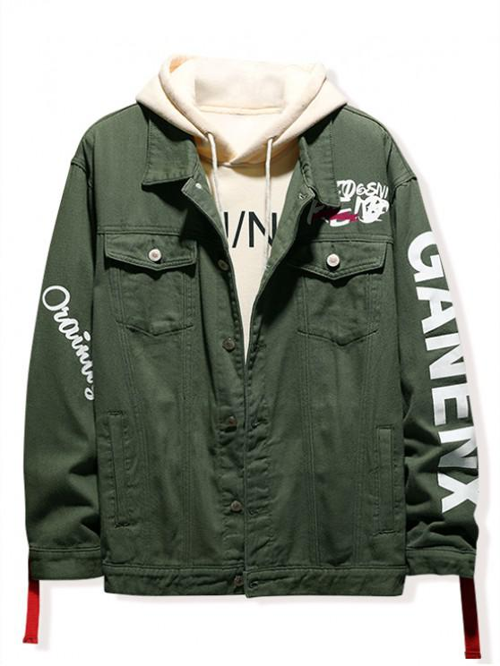 buy Letter Print Denim Jacket - ARMY GREEN M