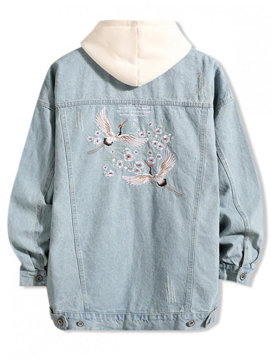 shop Flying Crane Floral Letter Embroidery Scratch Jean Jacket - DENIM BLUE XS